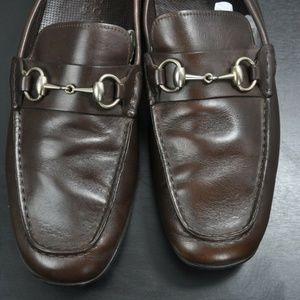 GUCCI Brown Leather Horsebit Loafers
